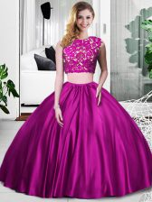 Sleeveless Floor Length Lace and Ruching Zipper Ball Gown Prom Dress with Fuchsia