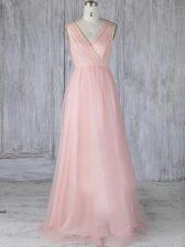 Custom Design Floor Length Baby Pink Dama Dress V-neck Sleeveless Zipper