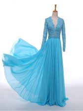 Floor Length Baby Blue Prom Dresses Chiffon Long Sleeves Lace