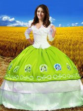 Yellow Green Taffeta Lace Up Quinceanera Gowns 3 4 Length Sleeve Floor Length Embroidery