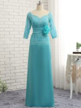 Colorful Long Sleeves Chiffon Floor Length Zipper Prom Party Dress in Aqua Blue with Lace and Appliques and Ruching and Hand Made Flower