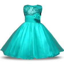 Suitable Knee Length Zipper Flower Girl Dress Turquoise for Military Ball and Sweet 16 and Quinceanera with Bowknot and Belt and Hand Made Flower