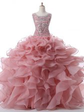 Custom Design Floor Length Pink Quinceanera Dress Organza Sleeveless Beading and Ruffles