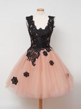 Peach Tulle Zipper Straps Sleeveless Knee Length Quinceanera Dama Dress Lace