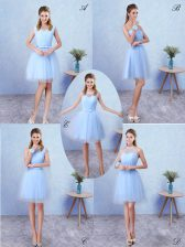 Most Popular Scoop Sleeveless Dama Dress for Quinceanera Knee Length Ruching Blue Tulle