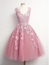 Pink A-line V-neck Sleeveless Tulle Knee Length Lace Up Appliques Dama Dress for Quinceanera