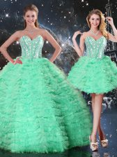 Great Floor Length Apple Green Quinceanera Gown Sweetheart Sleeveless Lace Up