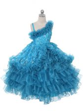 Perfect Sleeveless Lace Up Floor Length Lace and Ruffles and Ruffled Layers Little Girls Pageant Dress