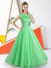 Customized Green Sleeveless Beading and Lace Floor Length Quinceanera Court of Honor Dress