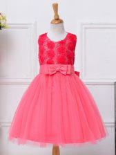 Admirable Scoop Sleeveless Little Girl Pageant Dress Knee Length Bowknot Hot Pink Tulle