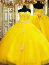 Sexy Gold Sweet 16 Dresses Military Ball and Sweet 16 and Quinceanera with Beading and Appliques Sweetheart Sleeveless Lace Up