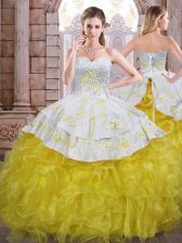 Floor Length Ball Gowns Sleeveless Yellow And White 15 Quinceanera Dress Lace Up