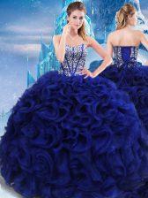 Royal Blue Sweetheart Lace Up Beading Sweet 16 Dress Sleeveless