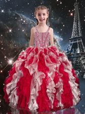 Most Popular Ball Gowns Little Girls Pageant Dress Wholesale Wine Red Straps Organza Sleeveless Floor Length Lace Up