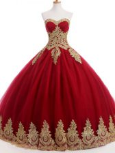 Floor Length Lace Up Quinceanera Gown Wine Red for Sweet 16 and Quinceanera with Ruffles and Sequins