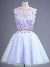 Pretty Sleeveless Beading Lace Up Dama Dress