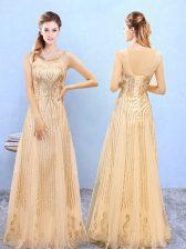 Artistic Floor Length Gold Vestidos de Damas Organza Sleeveless Beading and Appliques