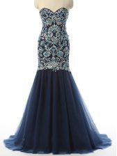 Elegant Sleeveless Zipper With Train Beading and Embroidery Prom Dresses