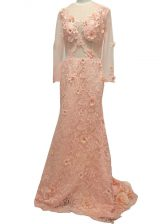 Peach Scoop Neckline Beading and Hand Made Flower Homecoming Dress Long Sleeves Side Zipper