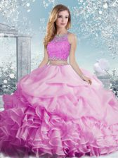 Charming Floor Length Two Pieces Sleeveless Lilac Quinceanera Dress Clasp Handle