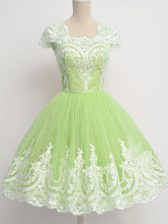 Pretty Yellow Green Dama Dress Prom and Party and Wedding Party with Lace Square Cap Sleeves Zipper