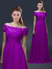 Purple Short Sleeves Chiffon Lace Up Prom Evening Gown for Prom and Party