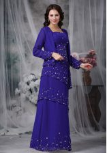 Sleeveless Chiffon Floor Length Zipper in Blue with Beading