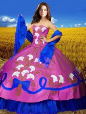 Taffeta Sweetheart Sleeveless Lace Up Embroidery Sweet 16 Dress in Multi-color
