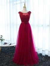 Luxurious Floor Length Lace Up Evening Dress Fuchsia for Prom and Sweet 16 and Quinceanera with Beading and Lace and Appliques and Belt