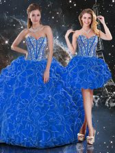 Unique Blue Ball Gowns Organza Sweetheart Sleeveless Beading and Ruffles Floor Length Lace Up 15 Quinceanera Dress