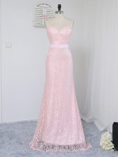 High Quality Baby Pink Sleeveless Lace Floor Length Dama Dress