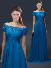 Short Sleeves Floor Length Appliques Lace Up Evening Dress with Royal Blue