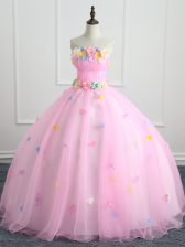 Chic Appliques and Hand Made Flower 15th Birthday Dress Pink Lace Up Sleeveless Floor Length
