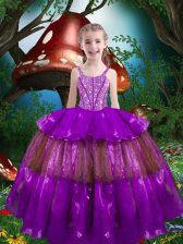 Exquisite Floor Length Ball Gowns Sleeveless Eggplant Purple Kids Pageant Dress Lace Up