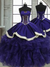 Lovely Floor Length Lace Up Sweet 16 Dress Purple for Military Ball and Sweet 16 and Quinceanera with Ruffles