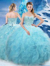 Floor Length Aqua Blue Vestidos de Quinceanera Tulle Sleeveless Beading and Pick Ups