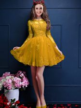Spectacular Gold A-line Scalloped 3 4 Length Sleeve Chiffon Mini Length Lace Up Beading and Lace and Appliques Court Dresses for Sweet 16