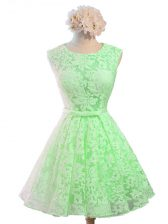 A-line Quinceanera Court Dresses Green Scoop Lace Sleeveless Knee Length Lace Up