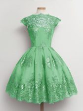 Green A-line Scalloped Cap Sleeves Tulle Knee Length Lace Up Lace Quinceanera Court Dresses