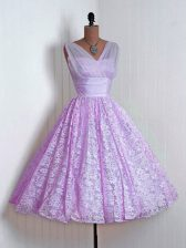 Lilac Quinceanera Court Dresses Prom and Party and Wedding Party with Lace V-neck Sleeveless Lace Up
