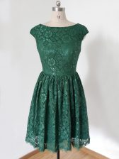 Great Dark Green Cap Sleeves Lace Lace Up Vestidos de Damas for Prom and Party and Wedding Party
