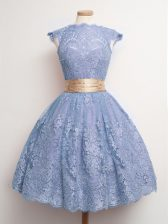 Glittering Blue Cap Sleeves Knee Length Belt Lace Up Quinceanera Court Dresses
