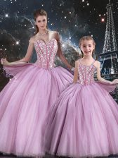 Sweetheart Sleeveless Sweet 16 Quinceanera Dress Floor Length Beading Lilac Tulle