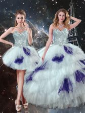 Dynamic Floor Length Multi-color Quinceanera Gowns Tulle Sleeveless Beading and Ruffled Layers and Sequins