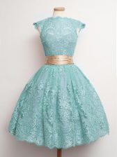 Nice Knee Length Aqua Blue Dama Dress for Quinceanera High-neck Cap Sleeves Lace Up
