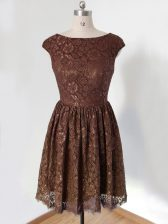 Scoop Cap Sleeves Court Dresses for Sweet 16 Knee Length Lace Brown Lace