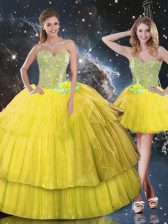 Gold Ball Gowns Ruffled Layers and Sequins Sweet 16 Quinceanera Dress Lace Up Organza Sleeveless Floor Length