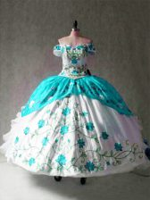 Multi-color Lace Up Vestidos de Quinceanera Embroidery and Ruffles Cap Sleeves Floor Length