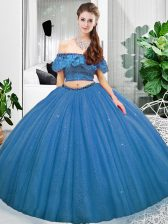 Blue Sleeveless Floor Length Lace Lace Up 15 Quinceanera Dress