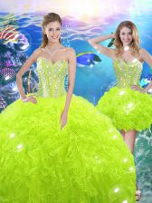 Nice Yellow Green Lace Up 15 Quinceanera Dress Beading and Ruffles Sleeveless Floor Length